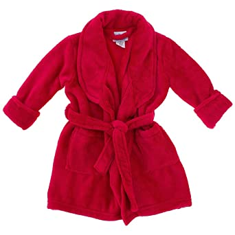 Red Plush Bath Robe for Toddlers and Boys