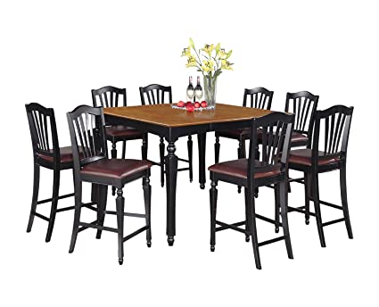 East West Furniture CHEL5-BLK-LC 5-Piece Counter Height Table Set