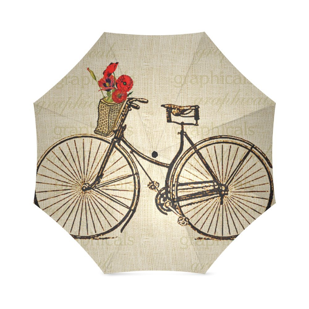 Vintage Bicycle and Flowers Print Design Lightweight Rain/Sun Umbrella Folding Anti-uv, Wind-proof Travel Umbrella 0