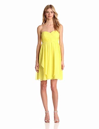 Donna Morgan Women's Blaire Sweetheart Top Dress, Lemonade, 0