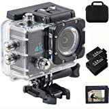 Action Camera 4k Ultra hd 2.0 Inch Lcd Screen 16MP 170 Degree Ultra Wide Angle Lens Wifi Waterproof Sport Camera Extra Rechargeable Batteries Hd Extreme Sports DV Storage Bag With Full Accessory Kit (Color: 4k Black Camera)