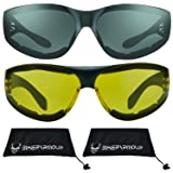 Motorcycle Sunglasses Foam Padded with Flame design for Men for women - Free Microfiber Cleaning Case Dragster (Smoke & Yellow Combo) (Color: Smoke & Yellow Combo, Tamaño: Large)