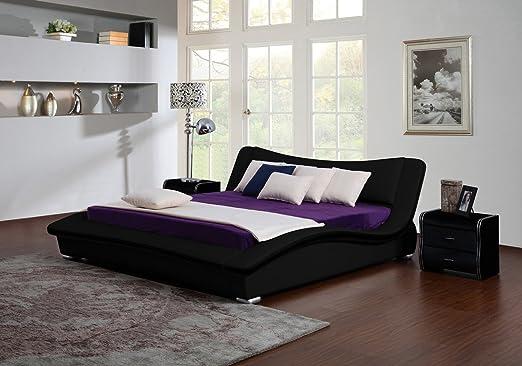 Bett HEAVEN Polsterbett weiß,weiß-schwarz, schwarz, schwarz-weiß, 140/160/200cm (140, schwarz)