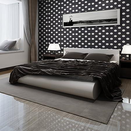 Piel sintética cama doble con memoria-espuma-colchón 180 x 200 cm blanco