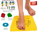 Super India Store RELIEF Acupressure Mat with Magnets Pyramids for Pain Relief and Total Health Size 12x12.5 Inches with FREE Power Ball, Power Thumb, Su Jok Ring & Reflexology Chart for Hand & Feet Worth RS. 176/