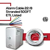 CCTVOnSales Security Burglar Alarm Wire Cable 22/8 22AWG Stranded 500 FT White in-Wall CMR Rated Pull Box ETL Listed (Tamaño: Alarm Cable 22/8)