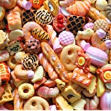 30 Pack Cute Candy Slime Beads Fruit Dessert Ice Cream Resin Charms Slices Flatback Buttons for Handcraft Accessories Scrapbooking Phone Case Decor (Orange) (Color: Orange, Tamaño: 10mm-25mm/0.39inch-1inch)