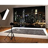 7X5FT Laeacco Vinyl Thin Photography Background Aerial View Famous Big City Night View Theme Backdrop for Photo Studio Props (Color: NCJ03318, Tamaño: 7x5ft)