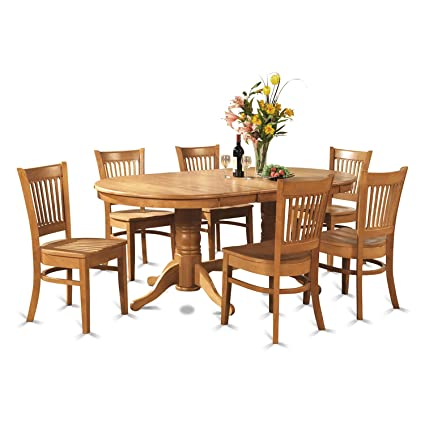 East West Furniture VANC9-OAK-W 9-Piece Dining Room Table Set