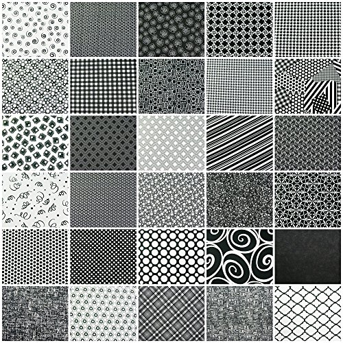 Charm Pack 60 Black and White Cotton Quilting Fabric 5 Inch Squares