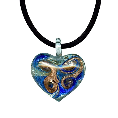 Amethyst Colored Murano Glass Heart with Pure Platinum Pendant Necklace
