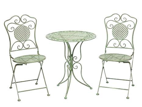 Jardín conjunto mesa y 2 sillas de la antiguedad del hierro de estilo muebles