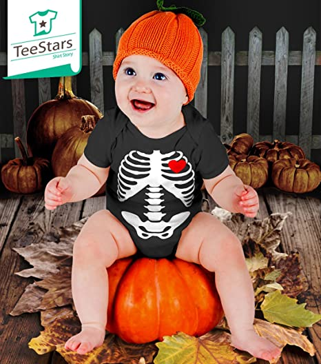 Baby Skeleton X-ray Heart - Halloween Easy Costume Bodysuit Baby Onesie