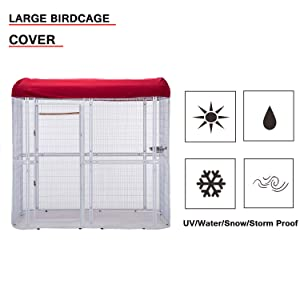 wonline Large Walk in Bird Cage, with Cover Top Parakeet Finch Budgie Conure Lovebird Aviary Pet House Heavy Duty White (Color: White Cage & Red Cover)