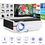 Wireless Bluetooth LCD Video Projector Home Theater Multimedia 5000 Lumens Android 6.0 WXGA LED Smart TV Proyector Support Full HD 1080P HDMI VGA RCA Audio USB AV for Gaming Outdoor Movie Party Beamer (Color: Projector 5000Lumens-WiFi-Bluetooth)