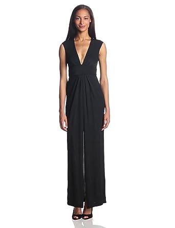 BCBGMAXAZRIA Women's Kiera V-Neck Evening Gown, Black, 0