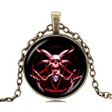 Gemingo All New Inverted Silver Skull Pentagram Silver satanic Necklace Occult Jewelry For men (GOLDEN) (Color: GOLDEN)
