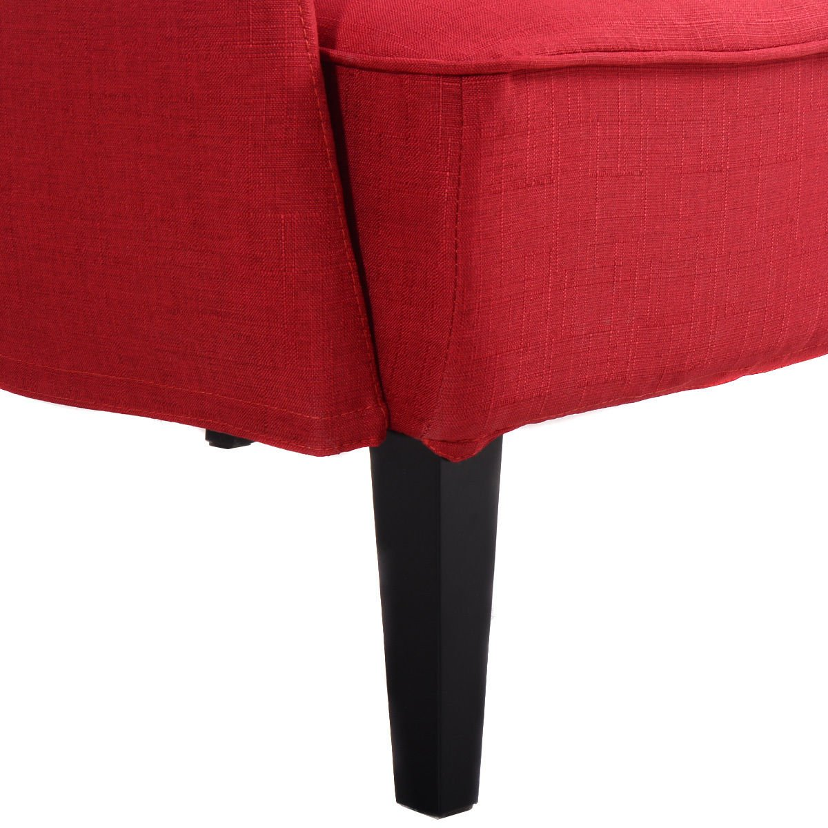 Giantex Modern Upholstered Accent Occasional Chair Roll Arm Living Room Bedroom Wood Leg (Red)