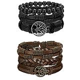 FIBO STEEL 6 Pcs Leather Bracelet for Men Women Tribal Bracelets Leather Wristbands Adjustable SMS (Color: A:Tree of life)
