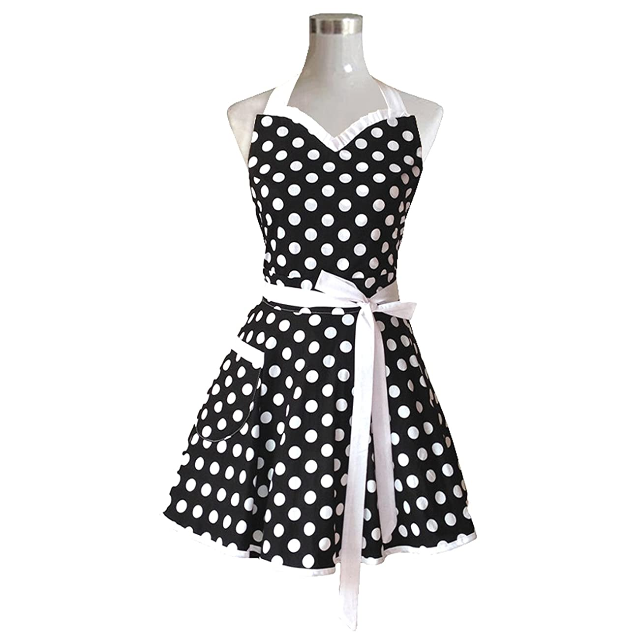 Lovely Sweetheart Black Retro Kitchen Aprons Woman Girl Cotton Polka Dot Cooking Salon Pinafore Vintage Apron Dress Gift 1