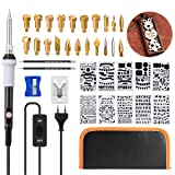Wood Burning Kit, GOCHANGE 39Pcs Pyrography Set with Adjustable Temperature Soldering Woodburning Pen with Power Switch, 20 Wood Burning Tips + 10 Stencil + 2 Pencils+ Stand + 1 Carrying Case (Color: 1)