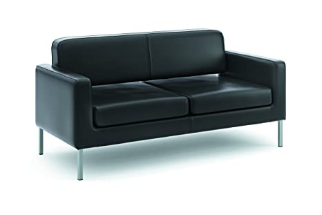 basyx by HON HVL888 Soft Thread Leather Sofa for 2, Black
