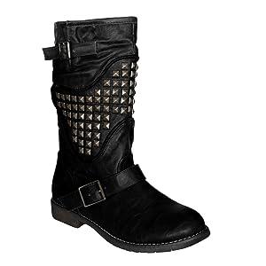 Waooh - Mode - Bottes Enza Nucci DR6048 en simili cuir clouté - Noir   Commentaires en ligne plus informations