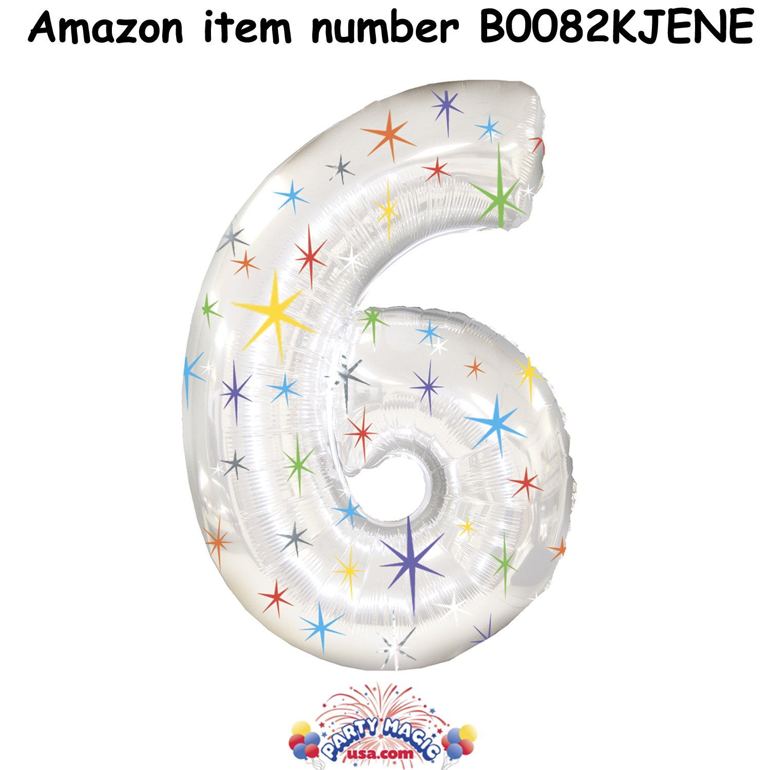 Number Six Shape 46 Inch Multi-Colored Sparkles Mylar Balloon Pkg/3 1pcs new ez s8c f ez t8c f hy dgt07017 pmu pmu 330b pmu 330bte tg05700a pmu 330bte tg05700a f 1 2 touchpad