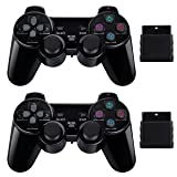 2 Pack Wireless Controller 2.4G Compatible with Sony Playstation 2 PS2 (Black&Blue) (Color: Black)