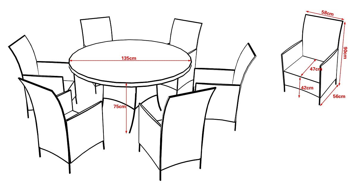 Round Rattan Table Set Patio Dining Table Set Outdoor Wicker Dining Table and Chairs RED