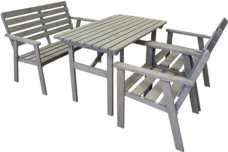 Garten Sitzgruppe 4-tlg grau lasiert Kiefer Tisch Stuhl 2-Sitzer