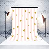 5ft(W) x7(H) Mother`s Day Backgrounds White Curtain Pink Stripes Gold Hearts Microfiber Wedding Baby Shower Photo Backdrop Studio Props (Color: 151D)