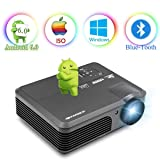 Wireless Projector Wifi Bluetooth 3600 Lumens (2018 Updated), Portable HD LED Projector 1080p Support, Digital Home Theater Cinema Projector Indoor Outdoor Movie Game with HDMI USB TV Audio AV Ports (Color: 3600 Lumens+WiFi+Bluetooth)