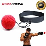 Kyam Fight Punching Boxing Reflex Ball - Premium MMA Boxing Equipment for Speed Reaction Agility Training and Hand Eye Coordination - Pro Weight Ball - Elastic Tether String - Black Boxeo Headband (Color: black, red)