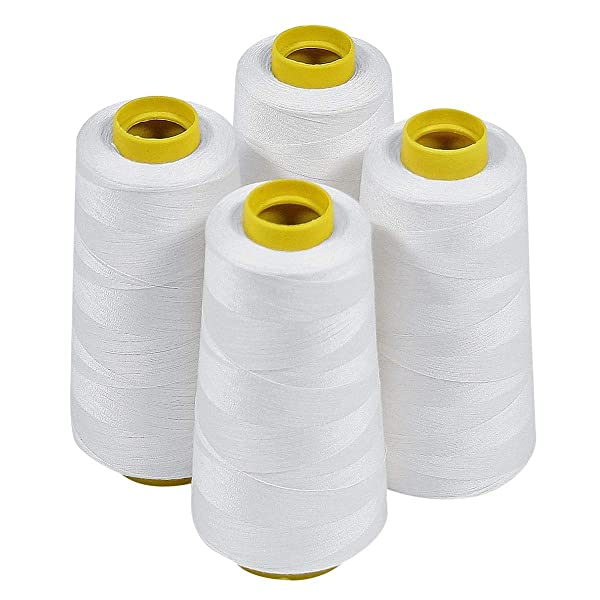 of Polyester threads for Sewing Quilting Serger ECRU Color from ThreadNanny 3000 yards each 4 Large Cones