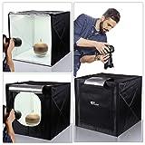 AMZDEAL LIGHT BOX PHOTO STUDIO - tienda de fotografía profesional de 20 x 20 pulgadas con luz de led 4 fondos (blanco negro gris naranja)
