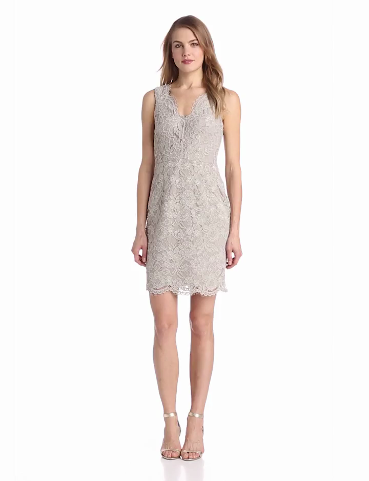 Adrianna Papell Womens Sleeveless V Neck Lace Dress, Taupe, 12