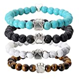 Jovivi 4pc Vintage Lava/Turquoise/Tiger Eye Stone Healing Power Crystal Dog Paw Charm Elastic Stretch Beaded Bracelets (Color: Mixed style 4pc)