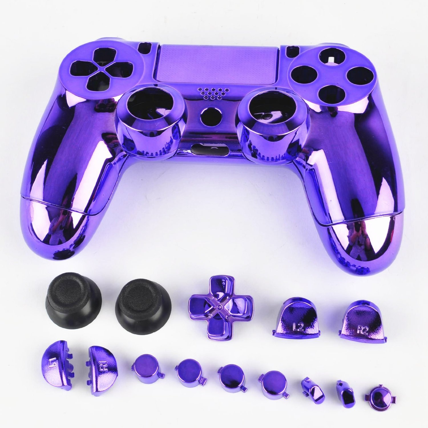 3CLeader® Case Cover Shell Skin for PS4 DualShock 4 Controller with Buttons Chrome Plating Color Purple xya1488 protective cover skin controller sticker for ps4