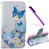 5S Case,iPhone SE Case,EMAXELER Creative Painted PU Leather Case Cover for iPhone 5/5S,Flip Wallet Case Holder Protective Case with Card Slots and Stand for iPhone 5/5S--Daisy Blue Butterfly