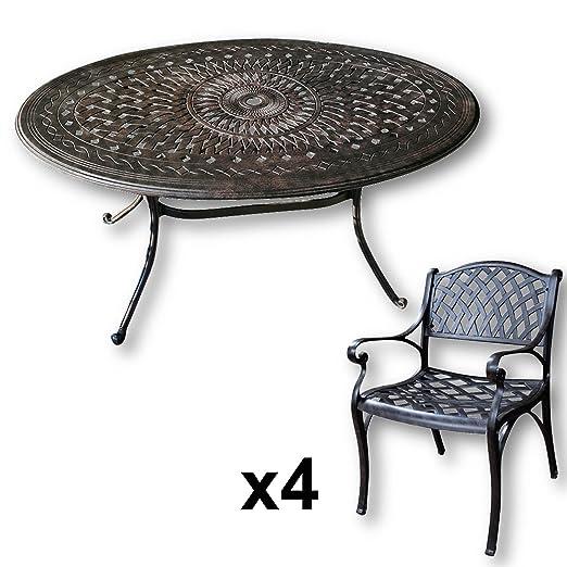 Lazy Susan - EMILY 150 x 95 cm Ovaler Gartentisch mit 4 Stuhlen - Gartenmöbel Set aus Metall, Antik Bronze (KATE Stuhle)