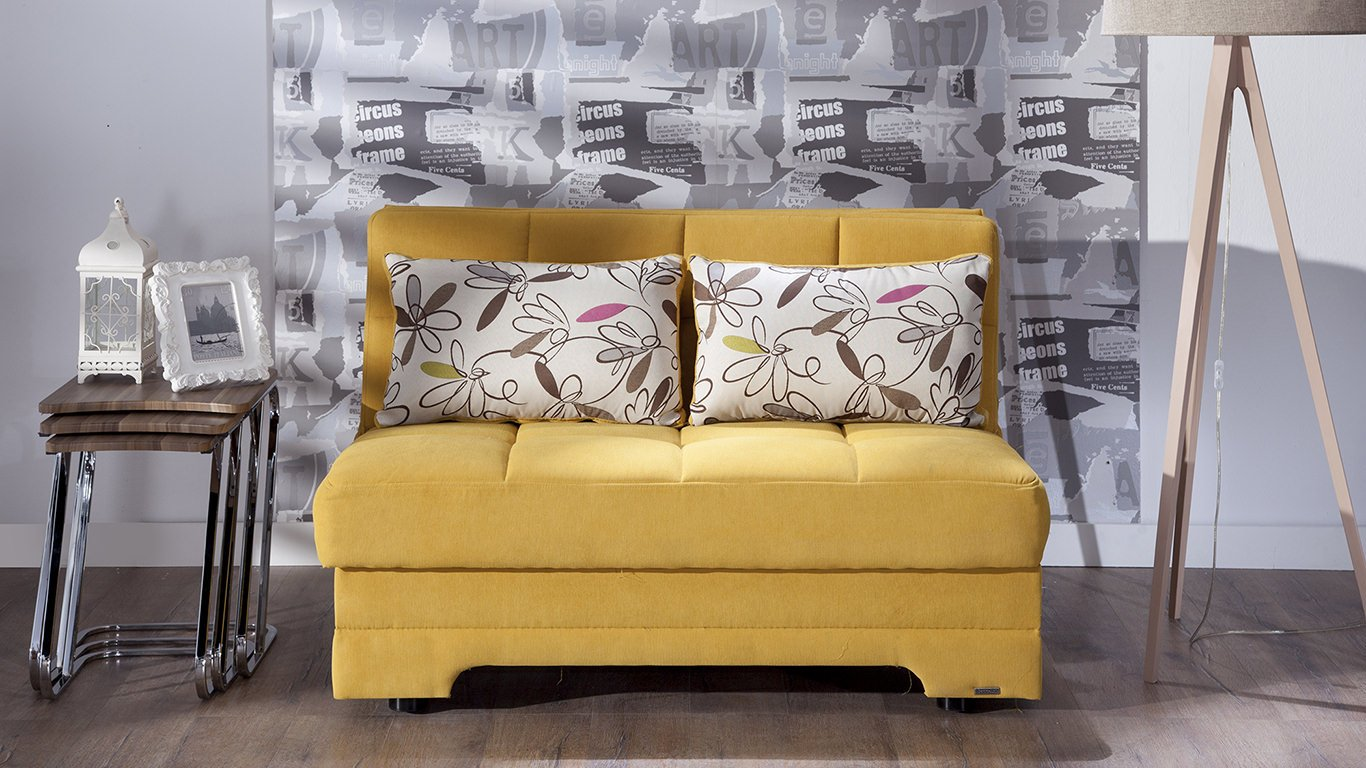 Twist Optimum Yellow Love Seat Sleeper with Storage by Sunset
