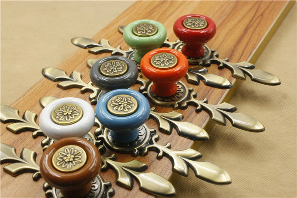 Sytian® 7pcs Multicolor High Quality Vintage Style Ceramic Pumpkin Drawer Knobs Dresser Cabinet Cupboard Wardrobe Pull Handles Door Knobs - With Screw 2