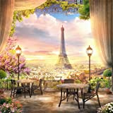 LFEEY 8x8ft French Dreamlike Paris Eiffel Tower Backdrop Curtain Flowers City View Photography Background YouTube Photo Booth Studio Prop (Color: NBK00625, Tamaño: 8x8ft)