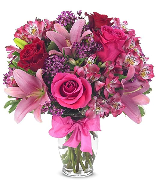 From You Flowers | Rose & Lily Celebration | Free Vase Included | Measures 14