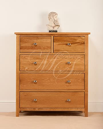 SOLID OAK 2 OVER 3 CHEST OF DRAWERS