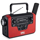 EBL Emergency Radio Dynamo Solar Hand Crank AM/FM/SW Radio Music Radio, SD Music Player, LED Flashlight Reading Camping Lamp with 3.7V 2300mAh Cell Phone Charger Batteries