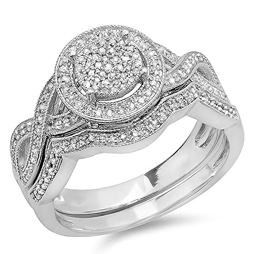 0-55-Carat-ctw-Sterling-Silver-Round-White-Diamond-Womens-Micro-Pave-Engagement-Ring-Set-1-2-CT