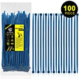 Nylon Zip Ties Heavy Duty- 8 Inch Blue,Multi-Purpose Self Locking Cable Ties, Ultra Strong Plastic Wire Ties with 50 Pounds Tensile Strength, 100 Pieces. (Color: Blue, Tamaño: 8 Inch)