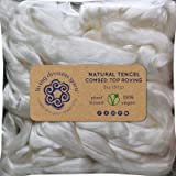 Tencel Fiber for Spinning Blending Dyeing. Glossy Shiny Vegan Combed Top Roving (Color: White Tencel, Tamaño: 2oz Singles)